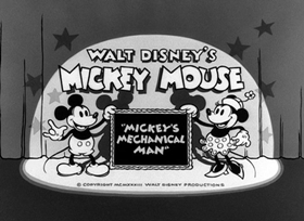 Screenshots from the 1933 Disney cartoon Mickey