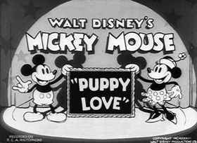 Screenshots from the 1933 Disney cartoon Puppy Love