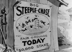 Screenshots from the 1933 Disney cartoon The Steeple Chase