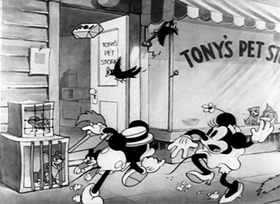 Screenshots from the 1933 Disney cartoon The Pet Store