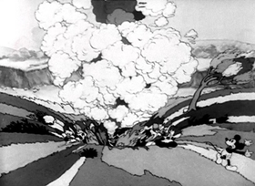 Screenshots from the 1933 Disney cartoon Giantland