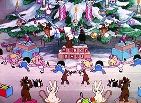 Screenshots from the 1933 Disney cartoon The Night Before Christmas