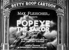 Screenshots from the 1933 Fleischer Studio cartoon Popeye the Sailor