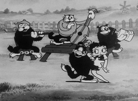 Screenshots from the 1933 Fleischer Studio cartoon Morning Noon and Night