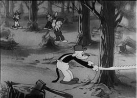 Screenshots from the 1933 Walter Lantz cartoon The Lumber Champ