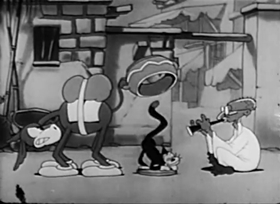 Screenshots from the 1933 Walter Lantz cartoon Beau Best