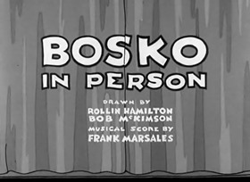 Screenshots from the 1933 Warner Brothers cartoon Bosko In Person
