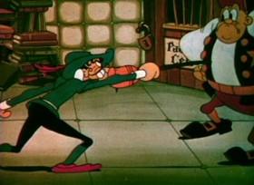 Screenshots from the 1934 Ub Iwerks cartoon Don Quixote