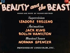 Screenshots from the 1934 Warner Brothers cartoon Beauty and the Beast