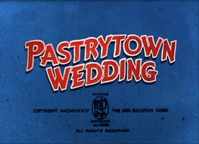 Screenshots from the 1934 Van Beuren cartoon Pastry Town Wedding