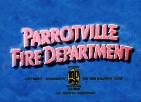 Screenshots from the 1934 Van Beuren cartoon Parrotville Fire Department