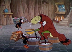 Screenshots from the 1934 Disney cartoon The Grasshopper and the Ants