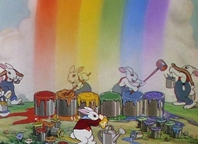 Screenshots from the 1934 Disney cartoon Funny Little Bunnies