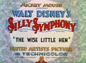 Screenshots from the 1934 Disney cartoon The Wise Little Hen