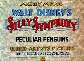 Screenshots from the 1934 Disney cartoon Peculiar Penguins