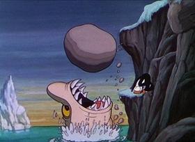 Screenshots from the 1934 Disney cartoon Peculiar Penguins