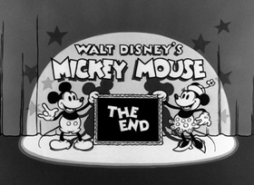 Screenshots from the 1934 Disney cartoon Mickey Plays Papa