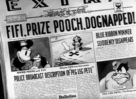 Screenshots from the 1934 Disney cartoon The Dognapper