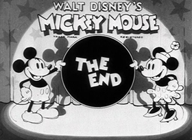 Screenshots from the 1934 Disney cartoon Two-Gun Mickey