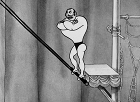 Screenshots from the 1934 Fleischer Studio cartoon The Man on the Flying Trapeze