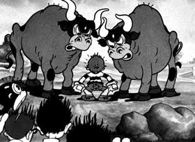 Screenshots from the 1934 Fleischer Studio cartoon Strong to the Finich