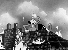 Screenshots from the 1934 Fleischer Studio cartoon The Two-Alarm Fire