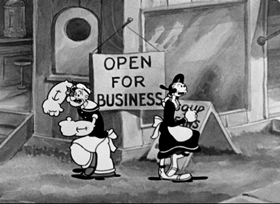 Screenshots from the 1934 Fleischer Studio cartoon We Aim to Please