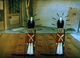Screenshots from the 1934 Ub Iwerks cartoon The Brave Tin Soldier