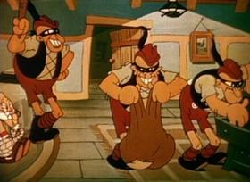 Screenshots from the 1935 Ub Iwerks cartoon Bremen Town Musicians