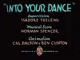 Screenshots from the 1935 Warner Brothers cartoon Into Your Dance