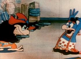 Screenshots from the 1935 Van Beuren cartoon Parrotville Post Office