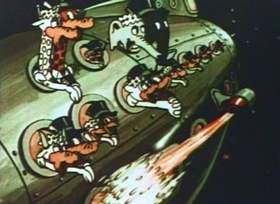 Screenshots from the 1935 Fleischer Studio cartoon Dancing on the Moon
