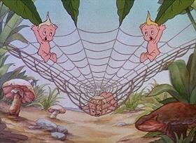 Screenshots from the 1935 Disney cartoon Water Babies