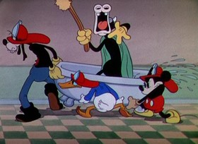Screenshots from the 1935 Disney cartoon Mickey