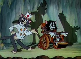 Screenshots from the 1935 Disney cartoon Pluto