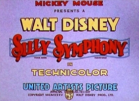 Screenshots from the 1935 Disney cartoon Cock o