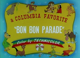Screenshots from the 1935 Columbia cartoon Bon Bon Parade