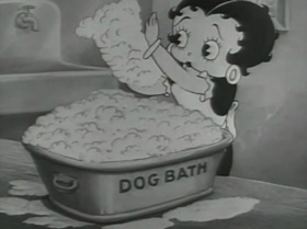 Screenshots from the 1935 Fleischer Studio cartoon A Little Soap and Water