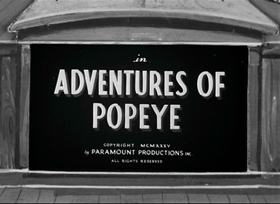 Screenshots from the 1935 Fleischer Studio cartoon Adventures of Popeye