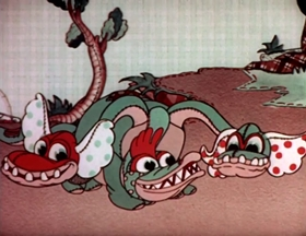 Screenshots from the 1935 MGM cartoon The Calico Dragon