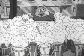 Screenshots from the 1936 Warner Brothers cartoon The Blow-Out