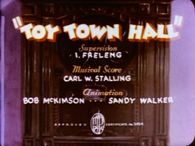 Screenshots from the 1936 Warner Brothers cartoon Toy Town Hall