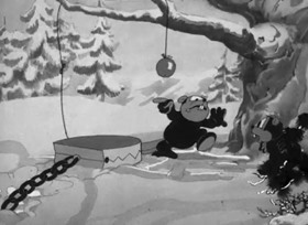 Screenshots from the 1936 Warner Brothers cartoon Porky in the North Woods