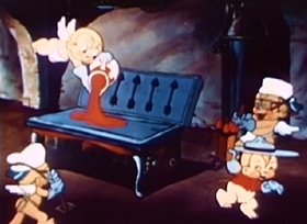 Screenshots from the 1936 Van Beuren cartoon Cupid Gets His Man