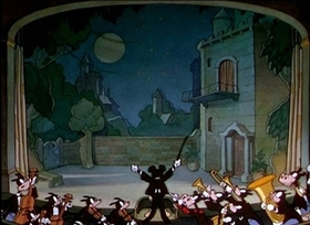 Screenshots from the 1936 Disney cartoon Mickey