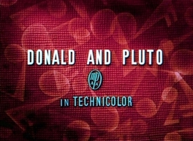 Screenshots from the 1936 Disney cartoon Donald and Pluto