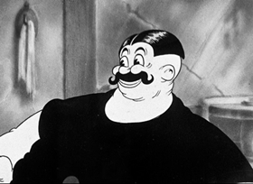 Screenshots from the 1936 Fleischer Studio cartoon A Clean Shaven Man