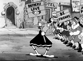 Screenshots from the 1936 Fleischer Studio cartoon Brotherly Love