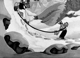 Screenshots from the 1936 Fleischer Studio cartoon I-Ski Love-Ski You-Ski