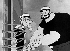 Screenshots from the 1936 Fleischer Studio cartoon Bridge Ahoy